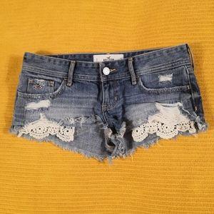 Hollister blue distressed jean shorts